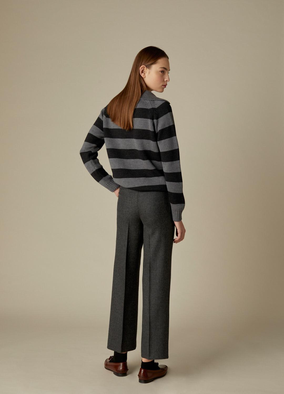 Jersey gris con estampado de rayas 100% lana Haley-4