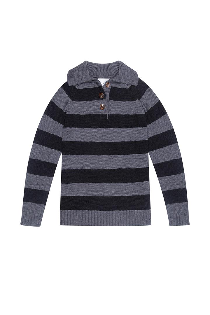 Jersey gris con estampado de rayas 100% lana Haley-1