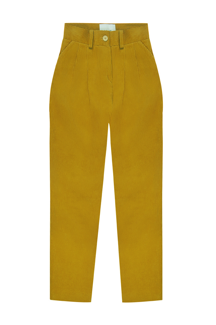 Pantalón de pinzas de pana mostaza con bolsillos Celestine-1