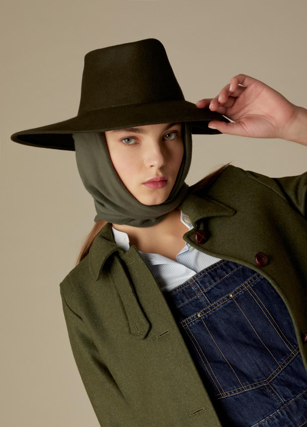Sombrero de fieltro 100% lana Dora caqui con pañuelo de quita y pon-3