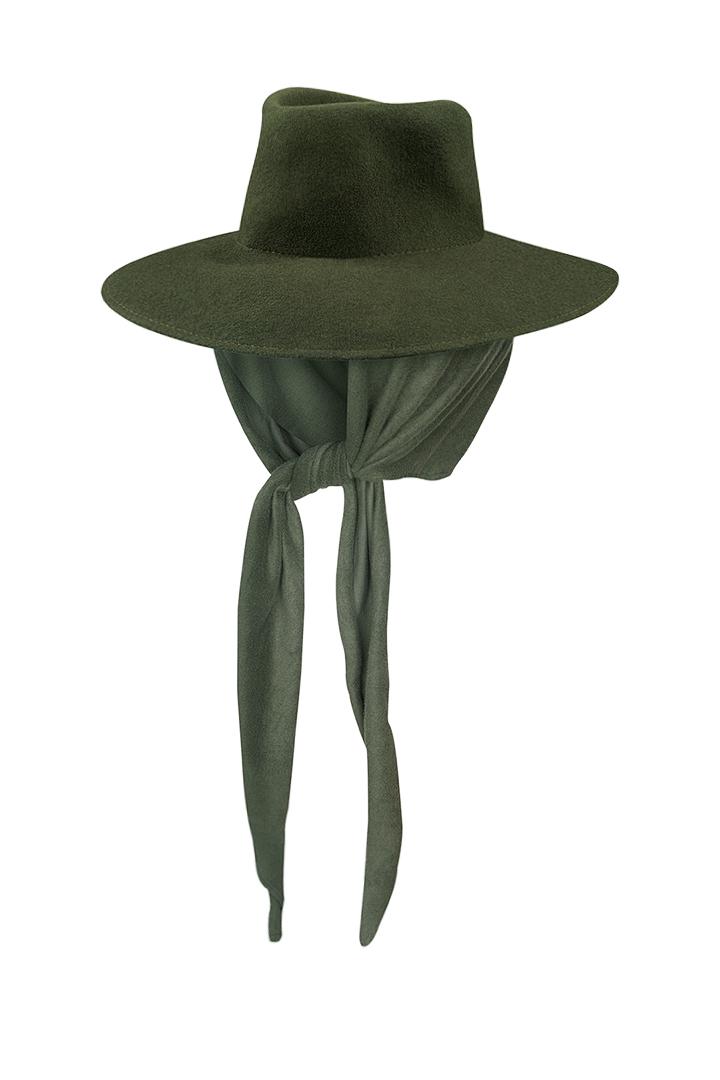 Sombrero de fieltro 100% lana Dora caqui con pañuelo de quita y pon-0